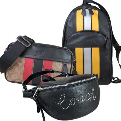 COACH 荔枝紋皮革/防潑水Logo立體腰胸兩用包/飛行包(男女皆宜)