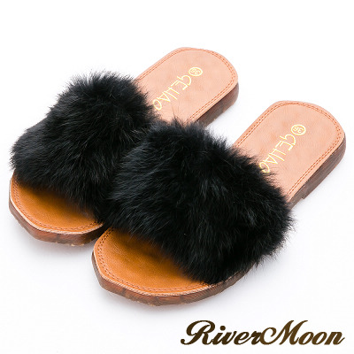 River&Moon拖鞋-奢華蓬鬆毛毛Q軟水晶底涼拖鞋-名媛黑