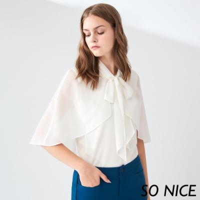 SO NICE優雅披肩造型雪紡上衣