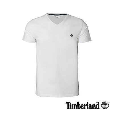 Timberland 男款白色V領防紫外線短袖T恤|A1X5U