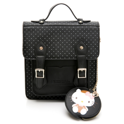 Hello Kitty聯名- 後背包 Preppy Style / 復古學院-黑色