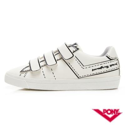 【PONY】Top Star Strap-新一代魔鬼氈塗鴉百搭小白鞋  女