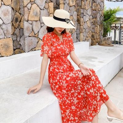 輕柔甜美紅色V領碎花鬆緊腰洋裝S-XL-Dorri