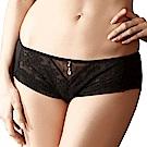 LADY 洛可可系列 低腰平口內褲(透視黑)