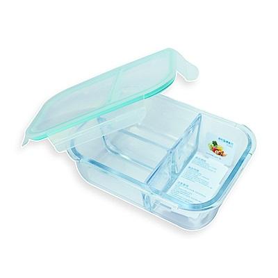 Incare 熱銷韓國強化玻璃分隔保鮮盒(1100ml3隔/2件組)