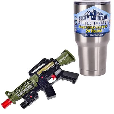 《M16A4》突襲步槍語音燈光音效震動電動玩具槍+冰霸杯組