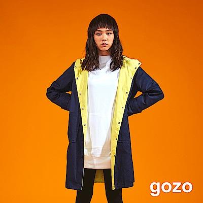 gozo品牌印字大口袋長版連帽上衣(深藍)