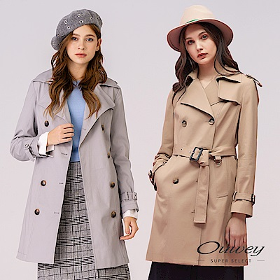 OUWEY歐薇 雙排扣活動式袢帶大衣外套(可/灰)