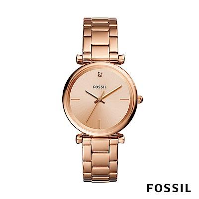 FOSSIL CARBON 玫瑰金不鏽鋼女錶 35mm ES4441