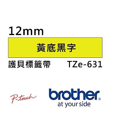 Brother TZe-631 護貝標籤帶 ( 12mm 黃底黑字 )