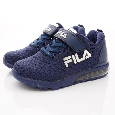 FILA頂級童鞋 針織氣墊運動鞋款 FO08U-441藏青(中大童段)