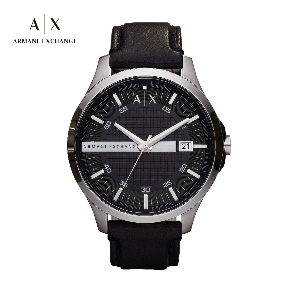 A│X ARMANI EXCHANGE HAMPTON 漢普頓菁英黑色真皮男錶-46mm(AX2101) product image 1