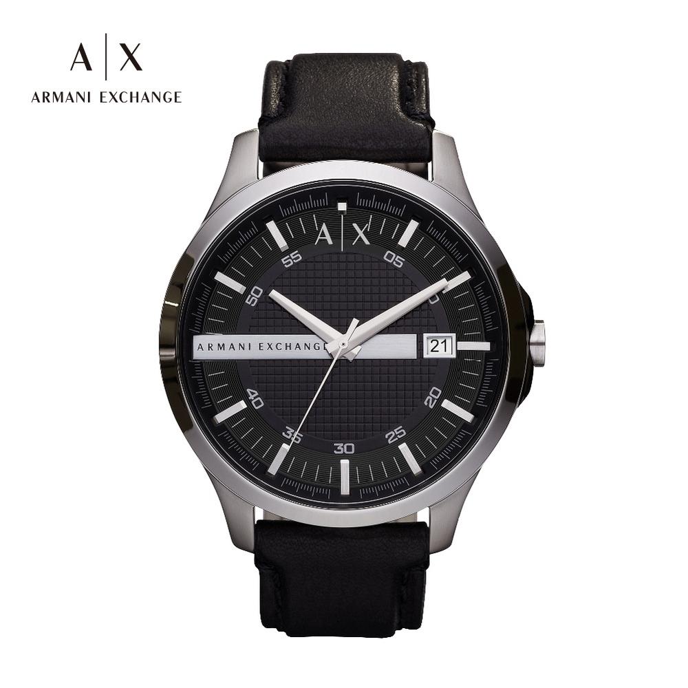 A|X ARMANI EXCHANGE HAMPTON 漢普頓菁英黑色真皮男錶 46mm(AX2101)