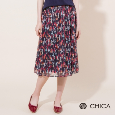 CHICA 手繪人像印花雪紡中長裙(1色)