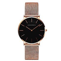 HANNAH MARTIN 經典極簡米蘭帶腕錶黑面-黑x36mm HM-CH36-WFF