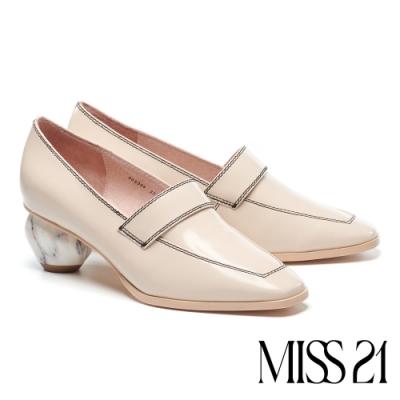 高跟鞋 MISS 21 幾何美學牛皮方頭樂福高跟鞋-米