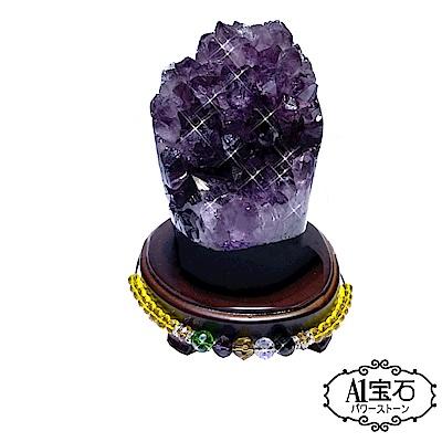 A1寶石 頂級巴西天然紫晶鎮/陣-同烏拉圭水晶洞功效1.1kg(贈五行木座)