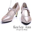 Keeley Ann 珍珠水鑽可拆式腳背帶新娘中跟鞋(粉金色)
