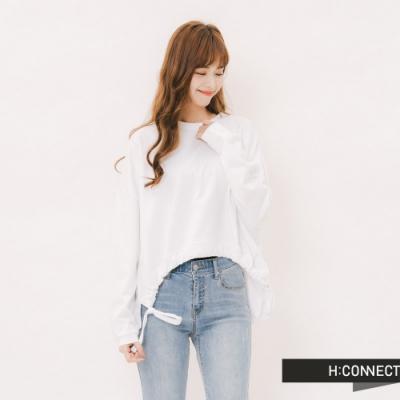 H:CONNECT 韓國品牌 女裝 - 下擺抽繩造型上衣-白