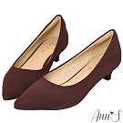 Ann'S健步如飛3.5CM霧皮沙發後跟尖頭鞋-酒紅