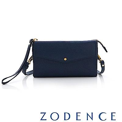 ZODENCE ERATO系列 進口彩色牛皮信封蓋皮夾包(小) 藍