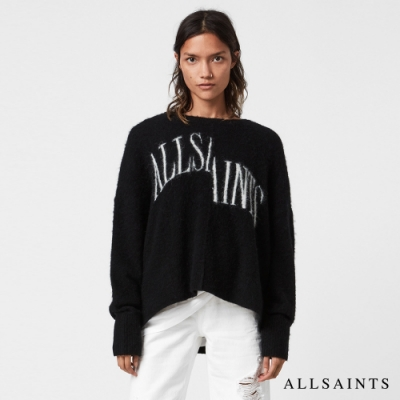 ALLSAINTS SPLIT 率性獨特錯位LOGO標誌羊毛混紡針織上衣-黑