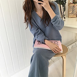 DABI 韓系顯瘦V領針織長版長袖洋裝