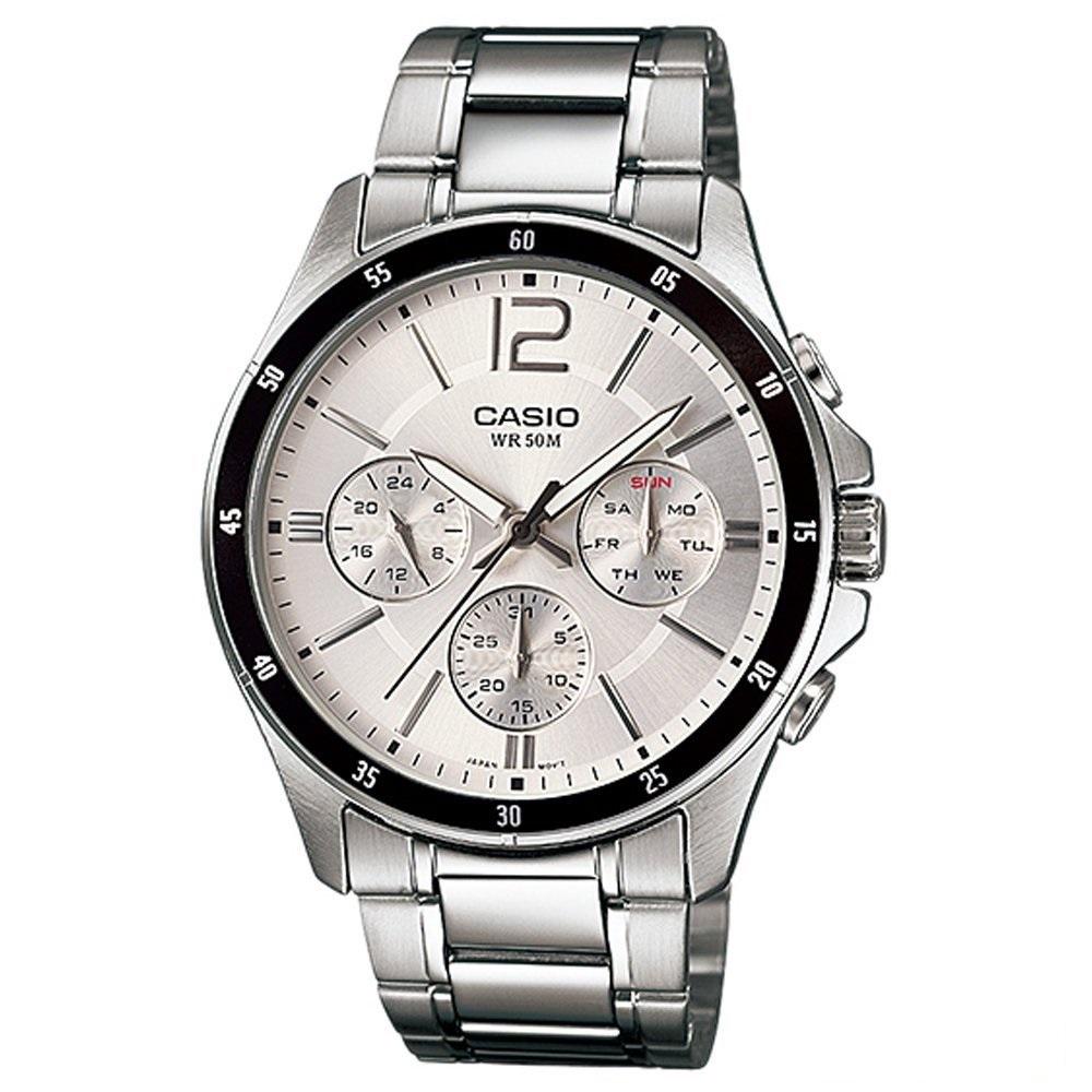 CASIO 低調奢華三針三眼風格不鏽鋼錶(MTP-1374D-7A)白/44mm