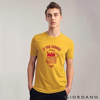 GIORDANO 男裝棉質標語印花短袖T恤-56 金章黃