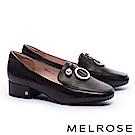 低跟鞋 MELROSE 復古質感珍珠圓飾全真皮方頭低跟鞋-黑
