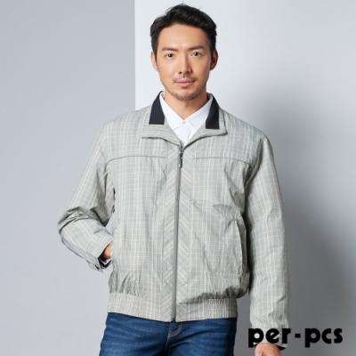 per-pcs 格紋防風外套_卡其灰色_PW0960