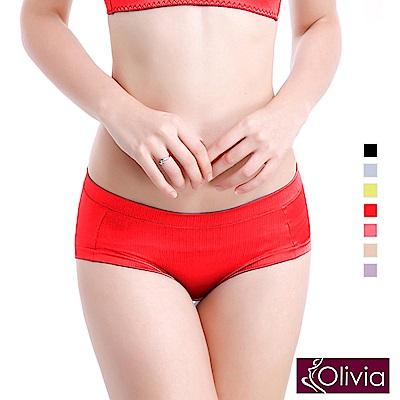 Olivia 拉絲無痕一片式中腰三角內褲-紅色