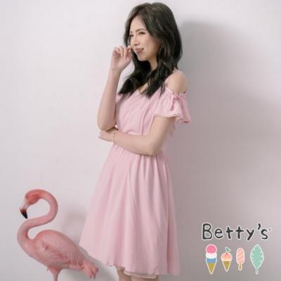 betty's貝蒂思 柔美露肩領口縫珠洋裝(淺粉)