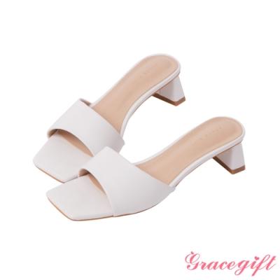 Grace gift-方頭寬帶扁跟涼拖鞋 白