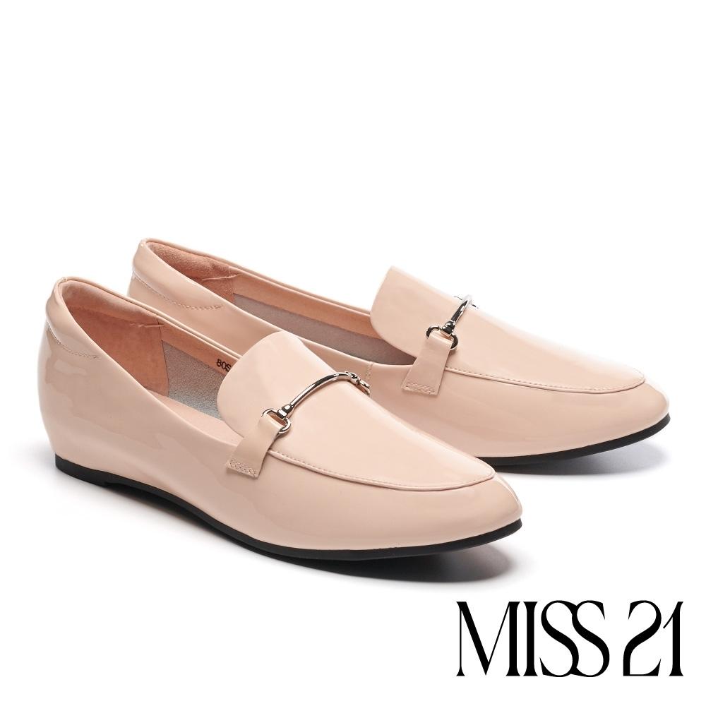 低跟鞋 MISS 21 復古時尚金屬條釦全真皮樂福低跟鞋-米