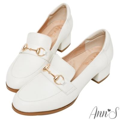 Ann'S質感真小羊皮金釦粗跟紳士鞋 -白