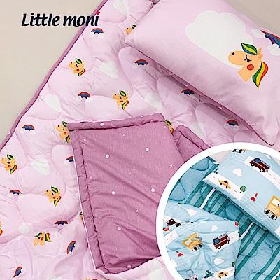 【little moni 】兒童寢具三件組(睡墊 涼被 枕頭) -飛翔獨角獸(粉紅色系)