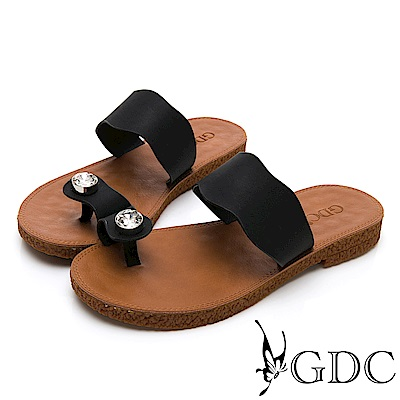 GDC-超Q軟舒適春夏必備波浪水鑽夾腳拖鞋-黑色