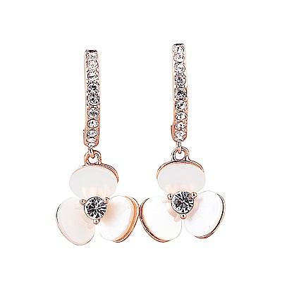 kate spade經典三色堇吊墜設計鑽鑲飾穿式耳環(玫瑰金)