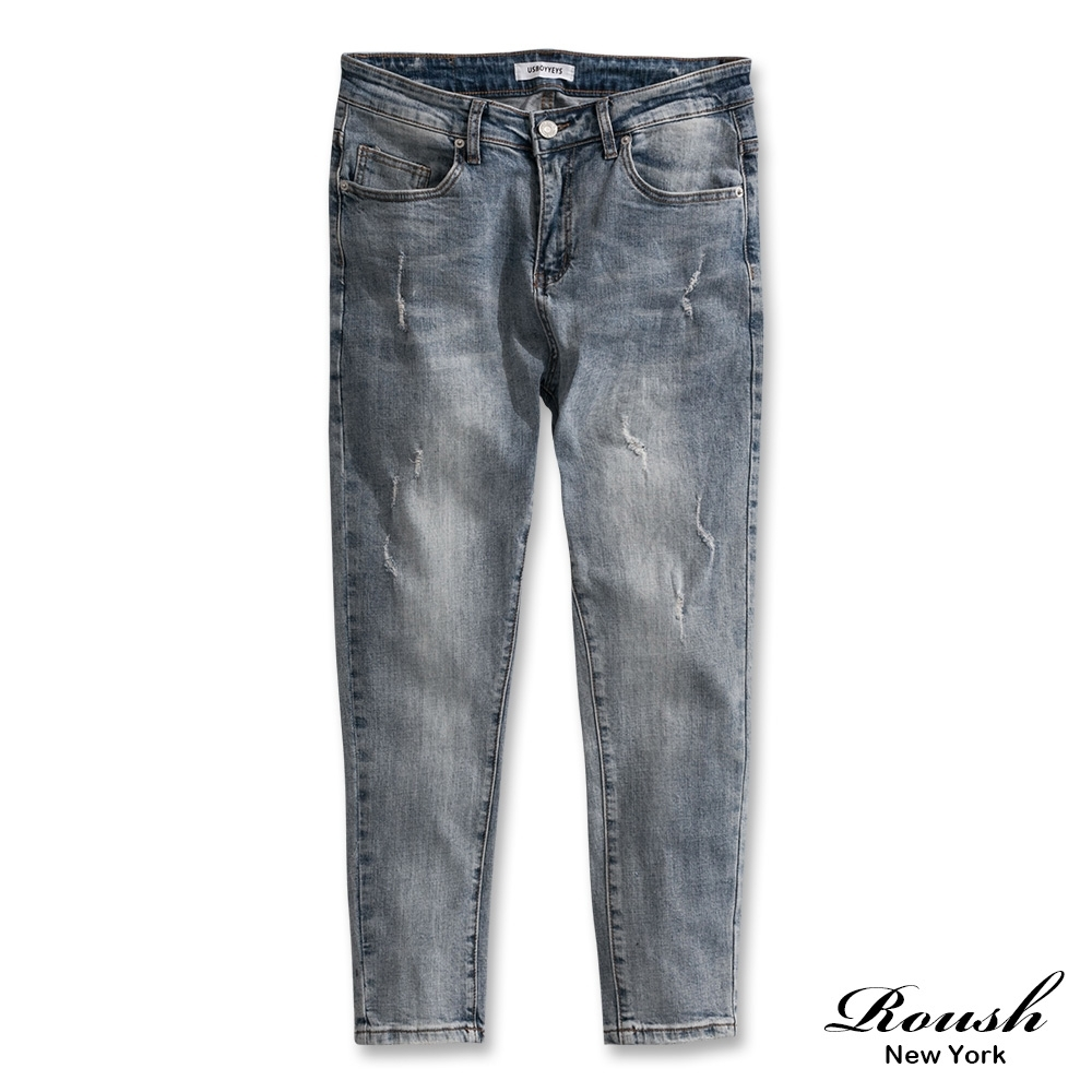 Roush 高磅數水洗破壞淺色彈力牛仔褲