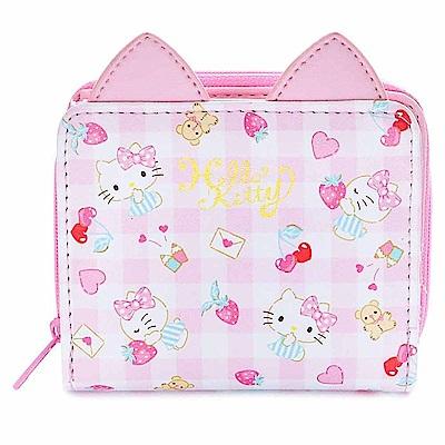 Sanrio HELLO KITTY俏皮貓耳PU皮革童用可愛短皮夾(草莓)