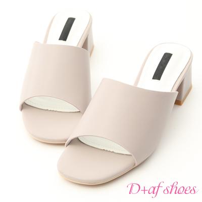 D+AF 韓風氣息.簡約一字寬版中跟涼拖鞋*灰
