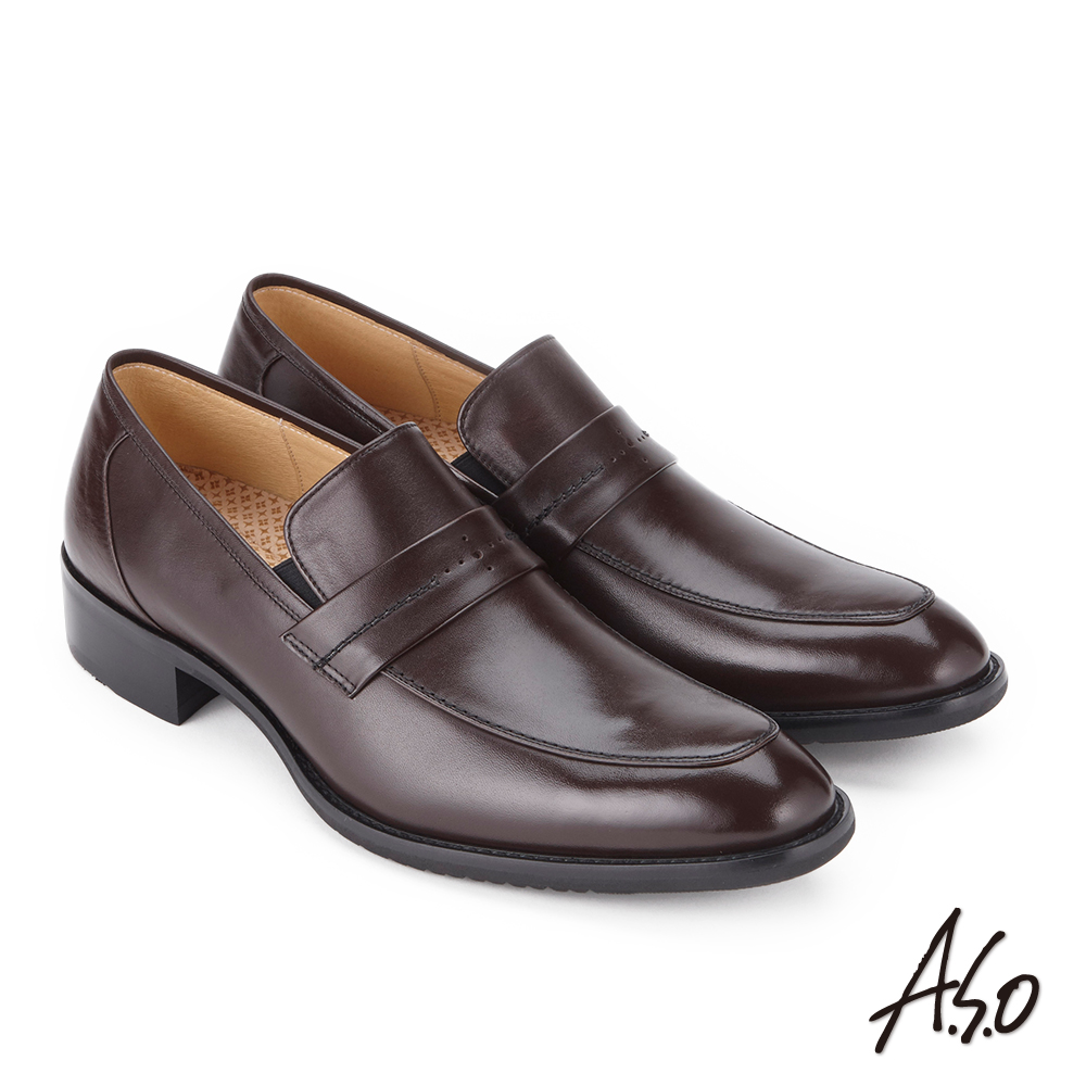 A.S.O 菁英霸足 直套式牛皮奈米紳士鞋 咖啡