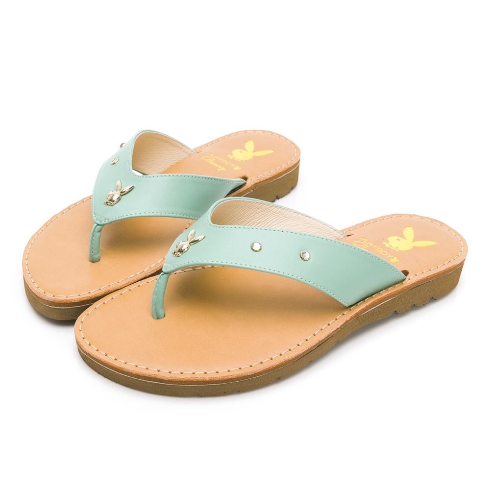 PLAYBOY 柔軟真皮V型寬帶修身涼拖鞋-藍綠-Y7321FD