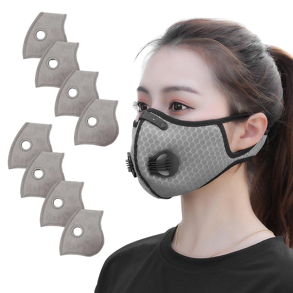活力揚邑 透氣網雙氣閥防塵霾機車運動口罩活性碳五層濾芯8入