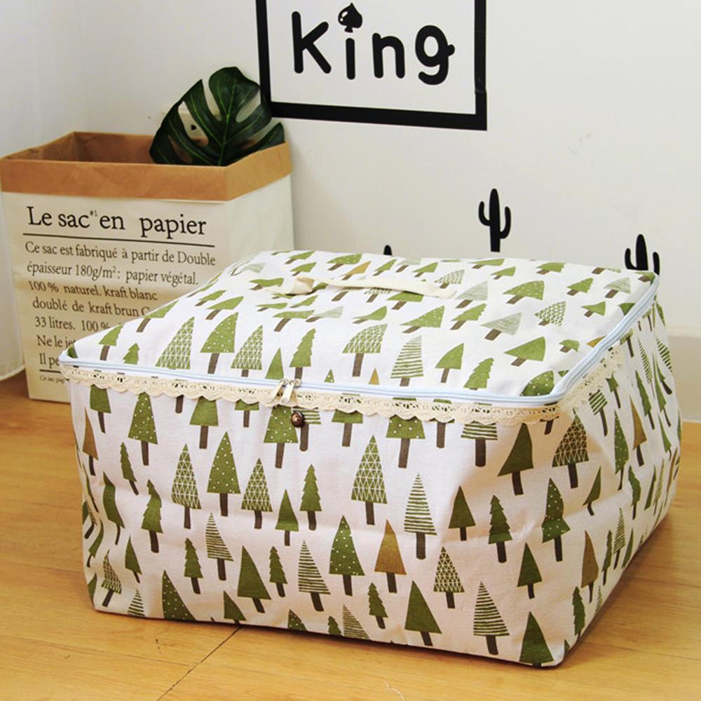 【收納職人】衣物棉被大容量防水防塵袋收納袋收納箱50L(白底小綠樹)