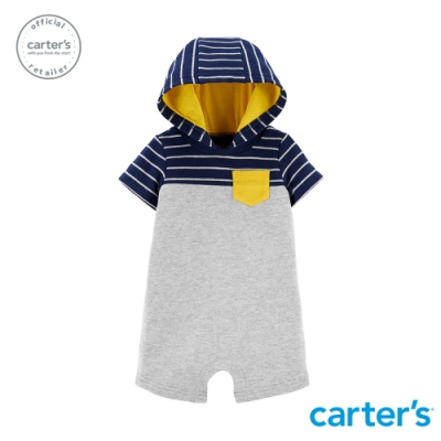 carter's台灣總代理 條紋撞色連帽連身裝
