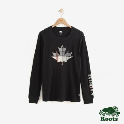 Roots 男裝-斯莫克胡長袖T恤-黑
