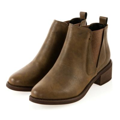 JMS-美型經典拼接鬆緊短踝靴-棕色