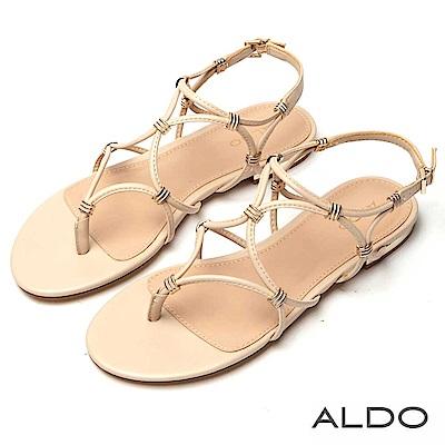 ALDO 原色幾何鏤空金屬夾心繫帶涼鞋~氣質裸膚